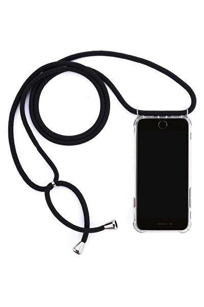 Şeffaf Iphone 11 Uyumlu İpli Boyun Askılı Siyah Telefon Kılıfı
