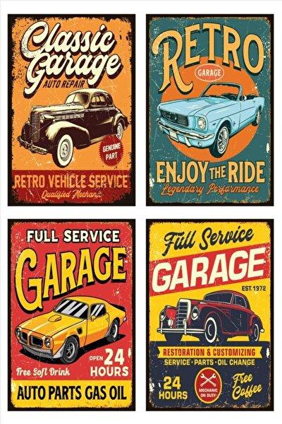 Ahşap - Mdf Vintage Retro Poster Tablo 20 X 30 4'lü Set