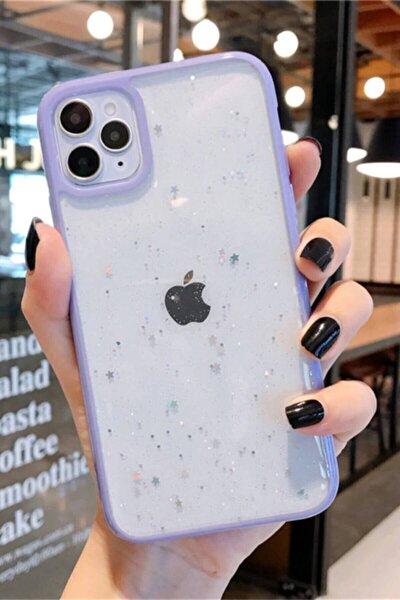 Iphone 11 Şeffaf Simli Yıldız Desenli Kılıf