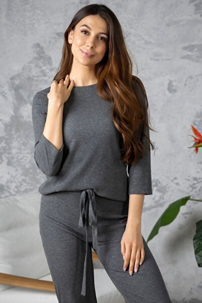 Kadın Gri Uzun Kol Bluz