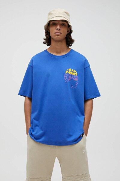 Erkek Önü Baskılı Mavi T-shirt