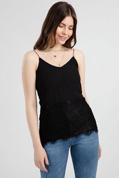 Kadın V Yaka Askılı Dantel Detaylı Bluz Y20s108-22479