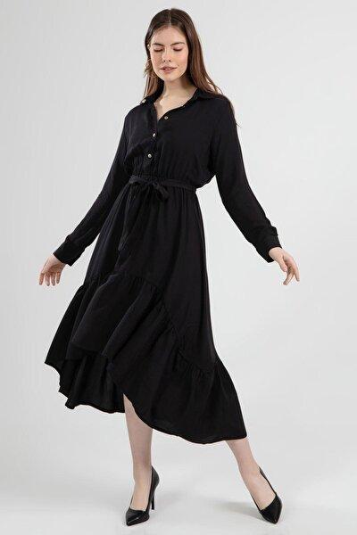 Kadın Kuşaklı Yarım Düğmeli Fırfırlı Elbise Y20s102-6025