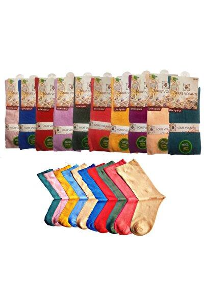 Kadın Paket Bambu Dikişsiz Sevimli Renkler Soket Çorap 10'lu