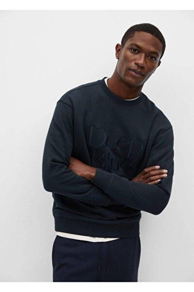 Erkek Lacivert Yazılı Koton Sweatshirt