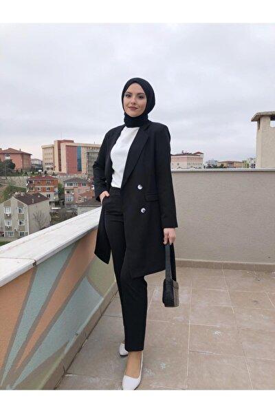 Kadın Tesettür Siyah Uzun Blazer Ceket