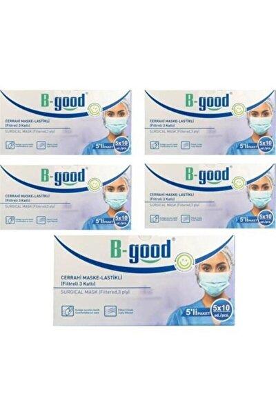 Cerrahi Maske 3 Katlı Meltblownlu Burun Telli 5 Kutu 250 Adet 5li Paket
