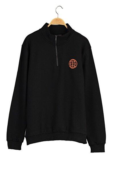 Yazılı Baskılı Dik Yaka Sweatshirt - Siyah