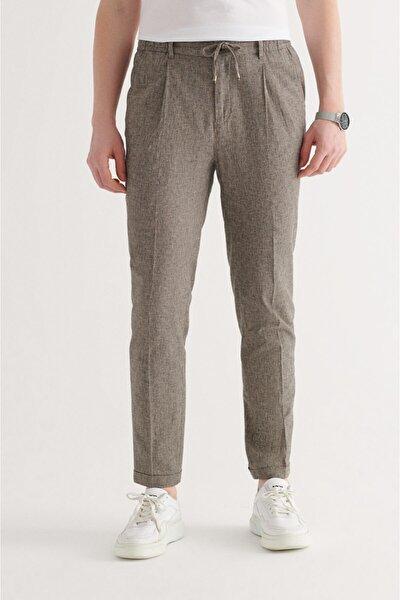 Erkek Antrasit Yandan Cepli Arka Beli Lastikli Kordonlu Çizgili Relaxed Fit Pantolon A11y3020