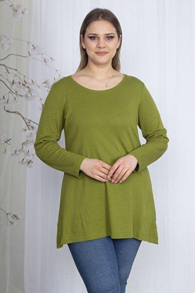 Kadın Yeşil Pamuklu Kumaş Bisiklet Yakalı Bluz 65N23577
