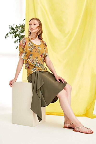 Kadın Çiçekli Sarı Bluz 19YBLZ904