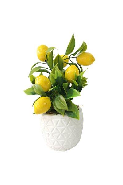 Beton Saksı Da Yapay Çiçek Limon Ağacı Masa Üzeri Dekoratif Hediyelik 15 Cm