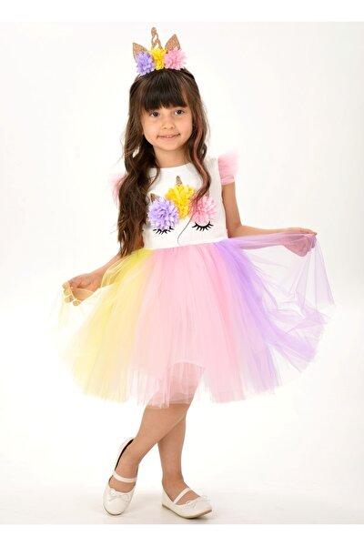 Kız Çocuk Beyaz Unicorn Figürlü Taçlı Elbise