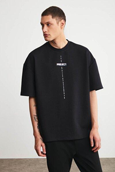 Project Erkek Siyah Oversize Bisiklet Yaka Kısa Kollu Önü Baskılı T-shirt