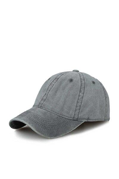 Gri Düz Eskitme Şapka Kep