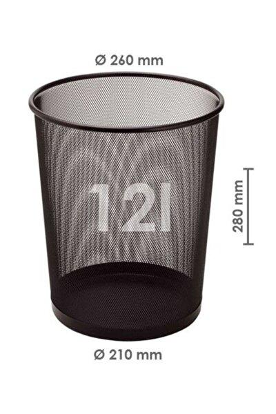 Metal Perfore Çöp Kovası Büyük Siyah