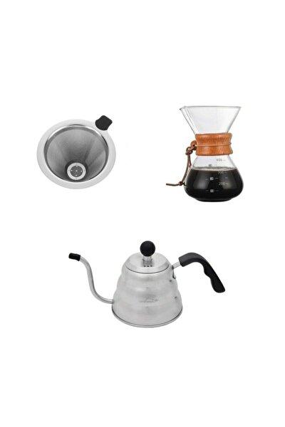 Campout Filtre Kahve Demleme Seti 50 Gram Filtre Kahve Hediyeli - Filtre Kahve Demlik Ve Cam Set