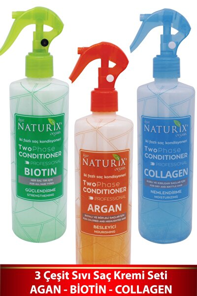 3'lü Bitkisel Sıvı Saç Kremi Seti Kolay Tarama Saç Kondisyoneri Argan - Biotin - Collagen Fön Suyu