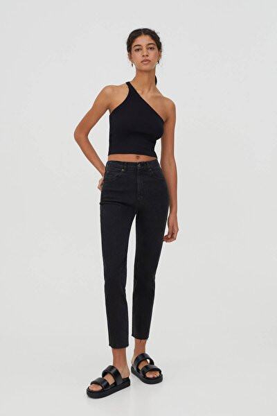 Kadın Siyah Comfort Slim Fit Mom Jean
