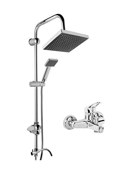 Robot Kare Tepe Duş Sistemi Çok Fonksiyonlu Yağmurlama Duş Seti  Aç Kapa Banyo Bataryalı