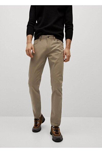 Erkek Bej Dar Kesim Denim Görünümlü Serj Pantolon