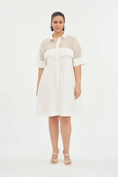 Kadın Beyaz Bol Kesim Gömlek Elbise
