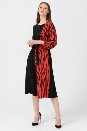 Seçil Desen Detaylı Önden Bağlamalı Elbise - 3553 Kırmızı