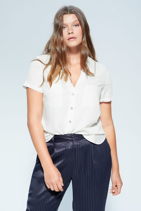 Mango Kadın Kırık Beyaz Şerit Cepli Bluz 67005926