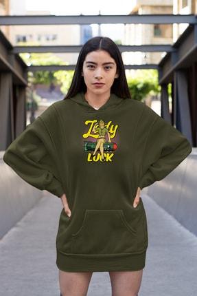 Angemiel Wear Lady Luck Füzeye Oturan Yeşil Elbise Sweatshirt Tunik