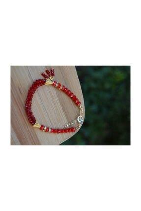 Stoneage Kırmızı Renkli Çek Kristali Bileklik