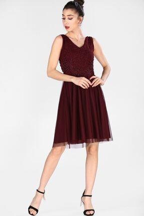 Nesrinden Kadın Simli Bordo Kadın Elbise ELB0063D2667