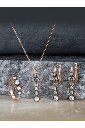 Else Silver Elmas Modeli Tria Gümüş Takı Seti