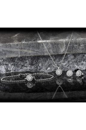 Else Silver Kadın Gümüş Pırlanta Modeli Papatya 3'lü Takı Seti