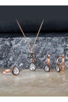 Else Silver Elmas Montürü Gümüş Damla Taşlı Takı Seti