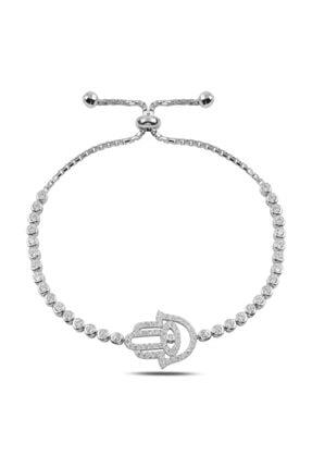 Silverella Gümüş 925 Ayar Fatma Ana Eli Zirkon Taşlı Suyolu Asansör Bileklik