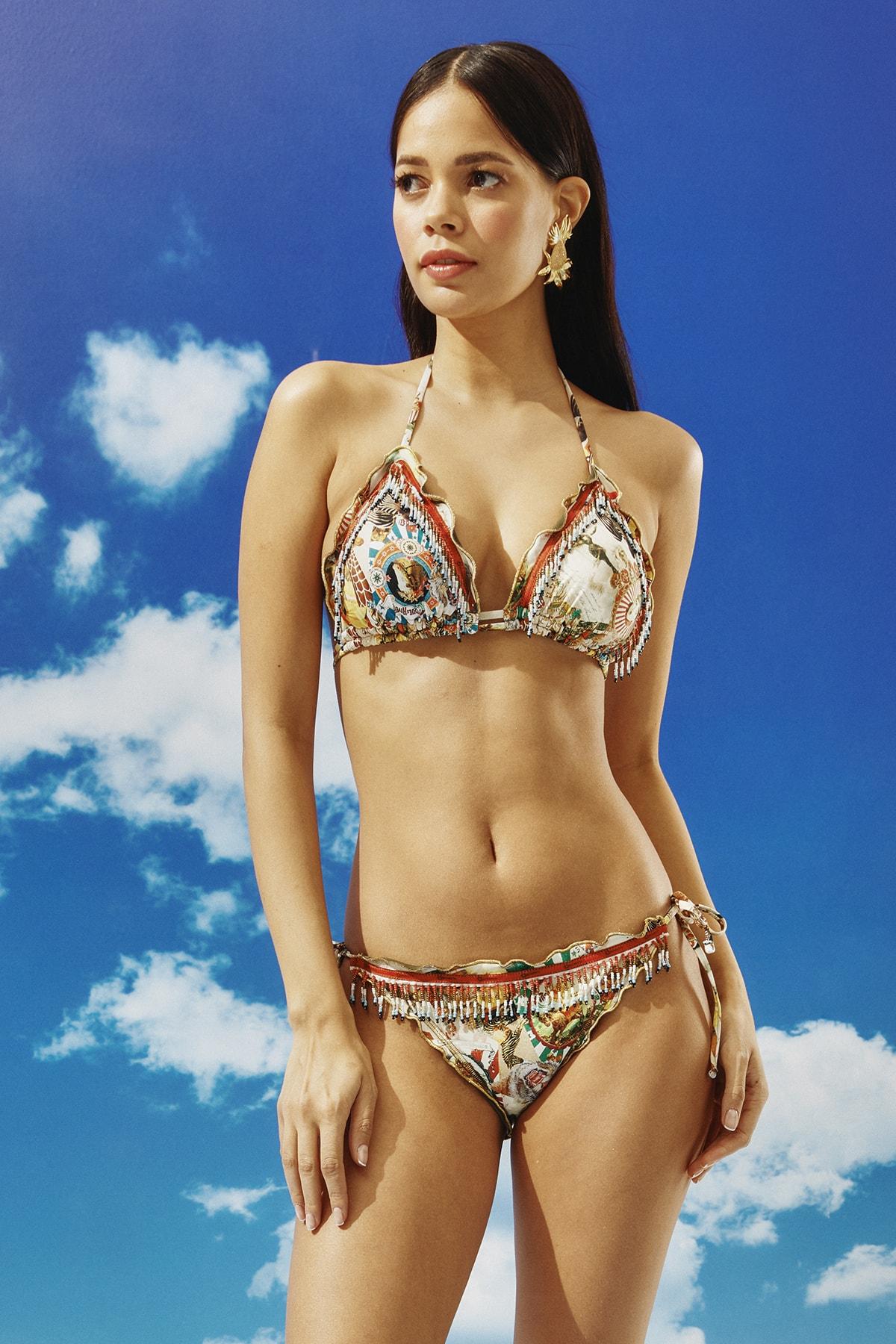BONESTA Kadın Desenli Boncuk Püsküllü Üçgen Bikini