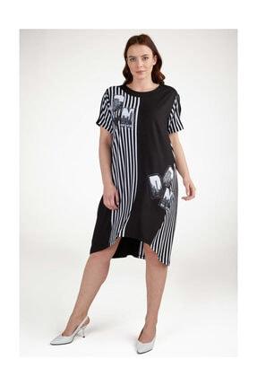 Sementa Büyük Beden Çizgi Konbinli Taş Detaylı Kadın Elbise - Siyah