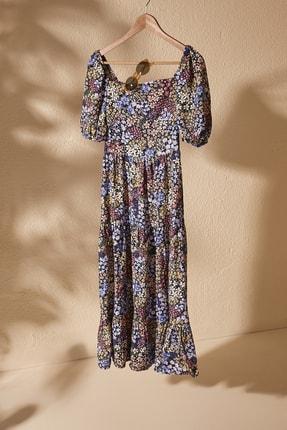 TrendyolMilla Çok Renkli Balon Kollu Çiçek Desenli Elbise TWOSS20EL2323
