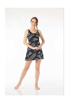 ESTİVA Kadın Elbise Mayo Kalın Askılı Kuş Tüyü Desenli Siyah 42