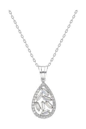 Chavin Baget Beyaz Taşlı Rodyum Gümüş Bayan Kolye Ef68by