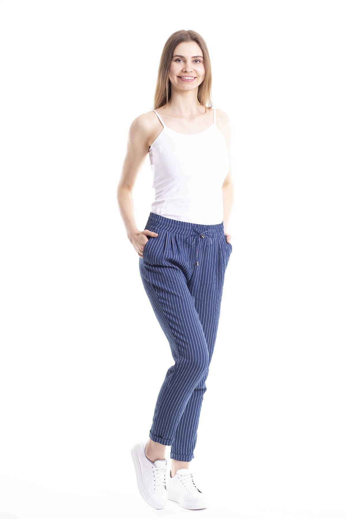 Stamina Kadın Lacivert Bağcıklı Çizgili Pantolon 4Pn2108