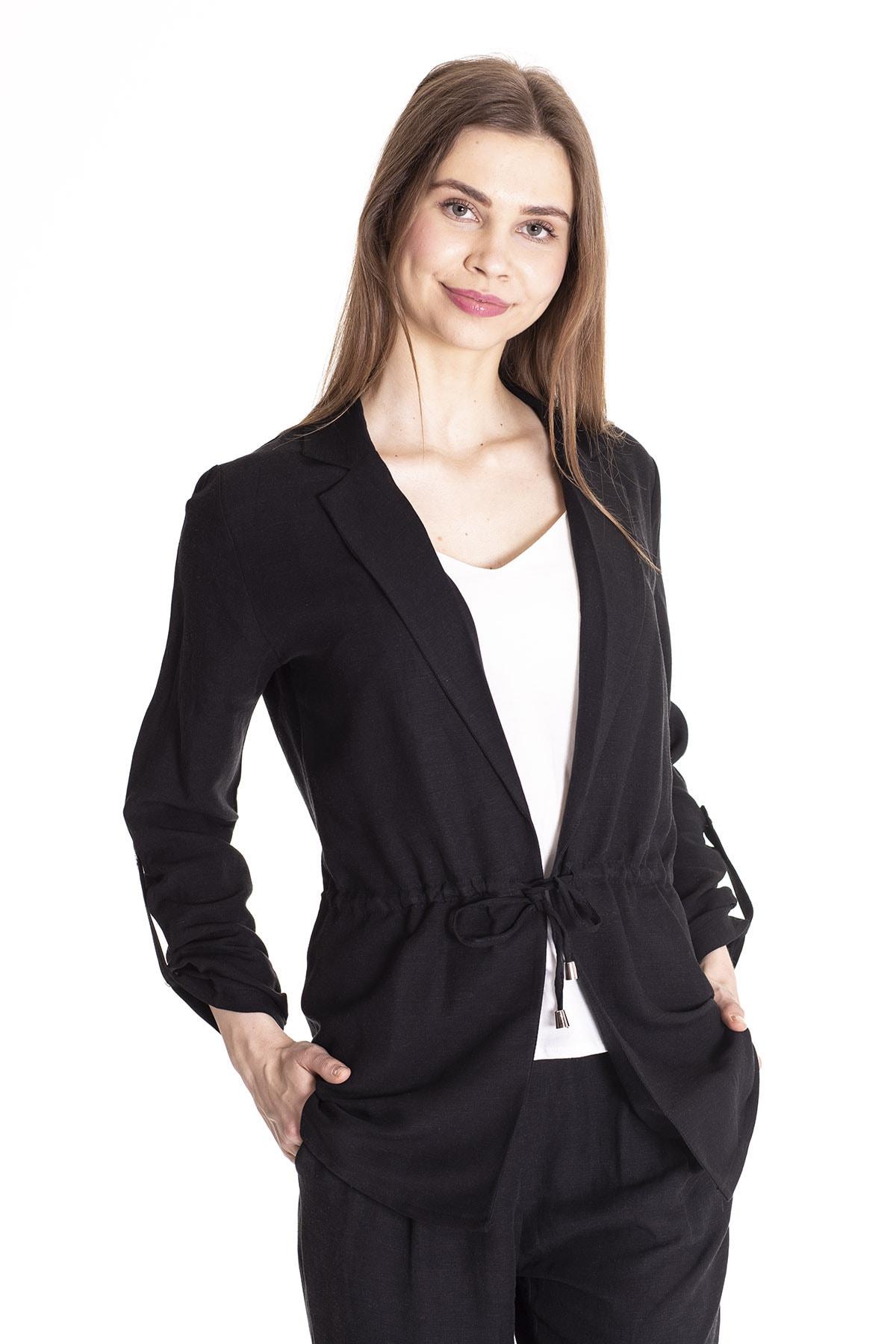 Stamina Kadın Siyah Beli Bağcıklı Kolları Apartlı Ceket 4Kt0201