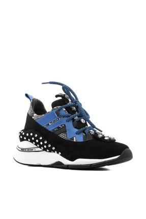 İlvi Gerrax Kadın Spor Ayakkabı Siyah Süet - Mavi Deri Gerrax-3133.0049