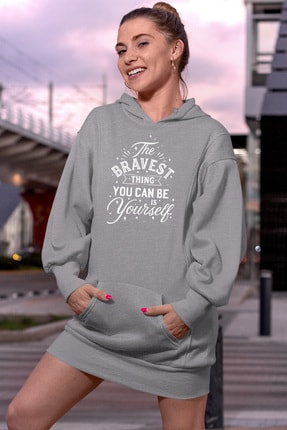Angemiel Wear The Bravest Gri Elbise Sweatshirt Tunik