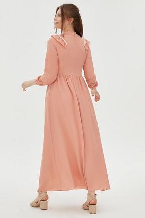 Kayra Fisto Ve Fırfır Detaylı Uzun Elbise Somon B20 83012
