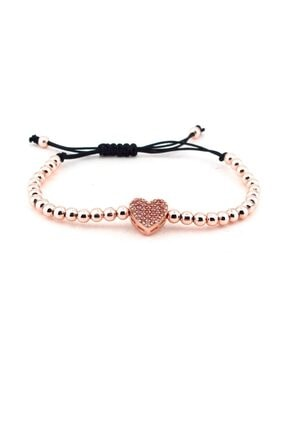 Solfera Parlak Taşlı Rose Metal Kalp Kadın Bileklik B1203