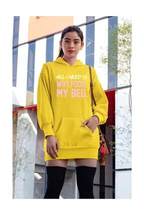 Angemiel Wear All I Need Is Wifi Sarı Elbise Sweatshirt Tunik