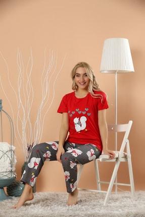 STRAWBERRY Kadın Kirmizi Pamuklu Baskılı Pijama Takım