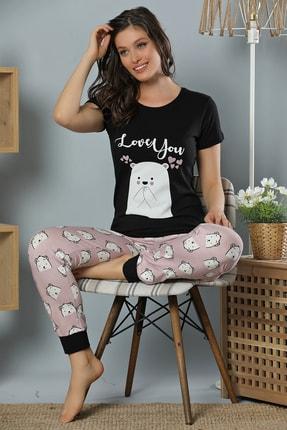 Elitol Kadın Siyah Baskılı Pamuklu Likralı Pijama Takım