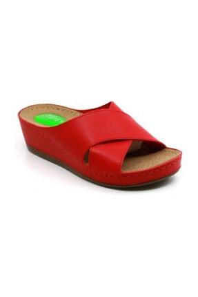 Twigy Kadın Kırmızı Çapraz Topuk Dikeni Özellikli Terlik